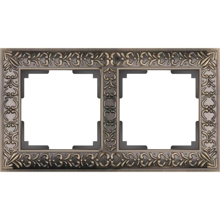Рамка на 2 поста  WL07-Frame-02, цвет бронза