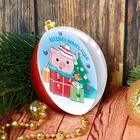 """Новогодний ёлочный шар """"Веселого Нового года"""" Свинка с 3D аппликацией + стразы + блестки 2 гр"""