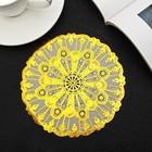 "Napkin fishnet PVC d=15 cm ""Leaves"" color gold"