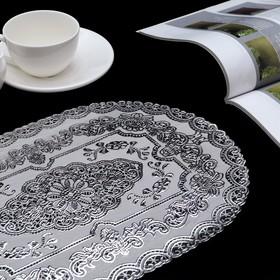 Салфетка ажурная ПВХ «Геральдика», 37×24,5 см, цвет серебро, рисунок МИКС