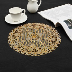 Салфетка ажурная «Цветы», 30×30 см, цвет золото