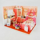 """Интерьерный домик - миниатюра, своими руками """"Спальня с кроватью с балдахином"""" со светом"""