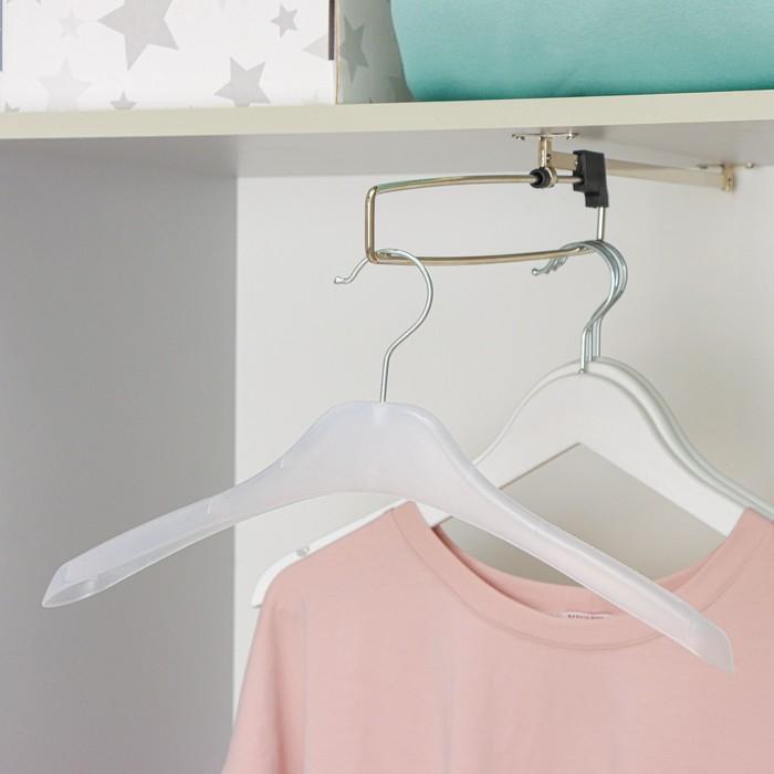 Вешалка-плечики с антискользящим покрытием 38×13×3.8 см, цвет прозрачный - фото 4642541