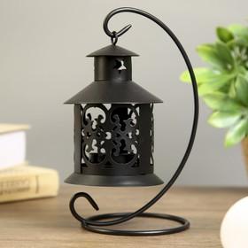 "Metal candle holder 1 candle ""Fishnet flashlight"" black 20х12х9,5 cm"