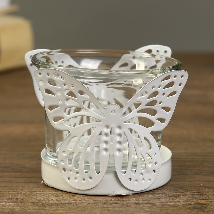 Подсвечник металл, стекло 1 свеча ''Бабочка'' белый 5,5х6,4х6,4 см   3502163