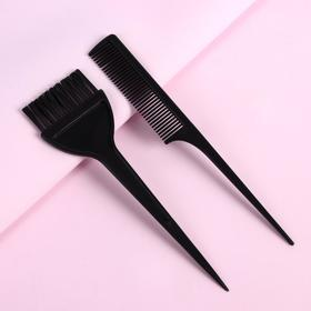 Set for painting, 2-piece: brush, comb with a tail, color black