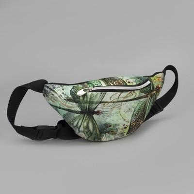 Сумка женская, отдел на молнии, наружный карман, поясной ремень, цвет чёрный/зелёный