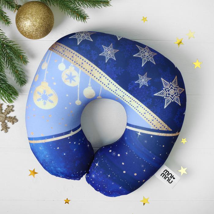 """Подголовник антистресс """"Новогодние игрушки и снежинки"""""""