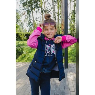 Жилет для девочки с капюшоном, т-синий, рост 140-146 (38)