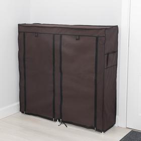 Полка для обуви двойная 6 ярусов, 118×30×120 см, цвет коричневый - фото 4642870