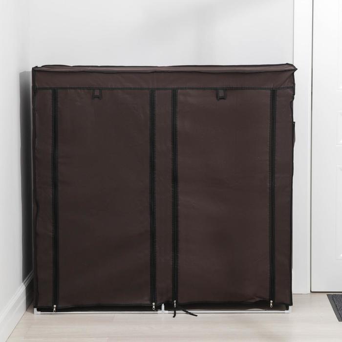 Полка для обуви двойная 6 ярусов, 118×30×120 см, цвет коричневый - фото 4642869