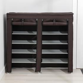 Полка для обуви двойная 6 ярусов, 118×30×120 см, цвет коричневый - фото 4642872