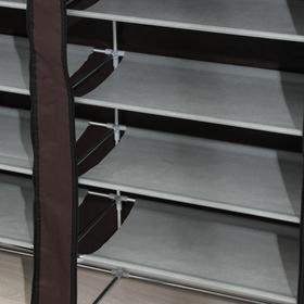 Полка для обуви двойная 6 ярусов, 118×30×120 см, цвет коричневый - фото 4642873