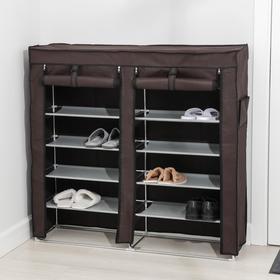 Полка для обуви двойная 6 ярусов, 118×30×120 см, цвет коричневый - фото 4642874