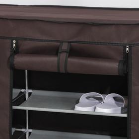 Полка для обуви двойная 6 ярусов, 118×30×120 см, цвет коричневый - фото 7843979