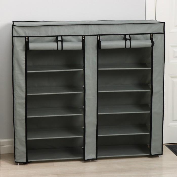 Полка для обуви двойная 6 ярусов 118×30×120 см, цвет серый
