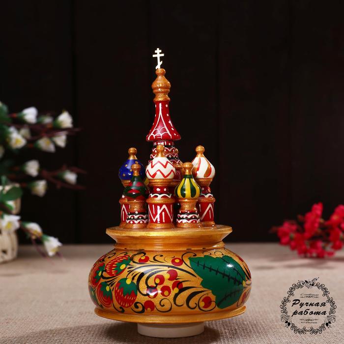 """Сувенир музыкальный """"Храм"""", 19х15,5 см, хохлома золото"""
