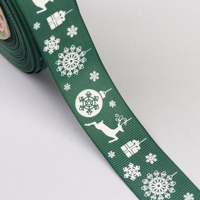 Лента репсовая «Олени», 25мм, 22±1м, цвет зелёный
