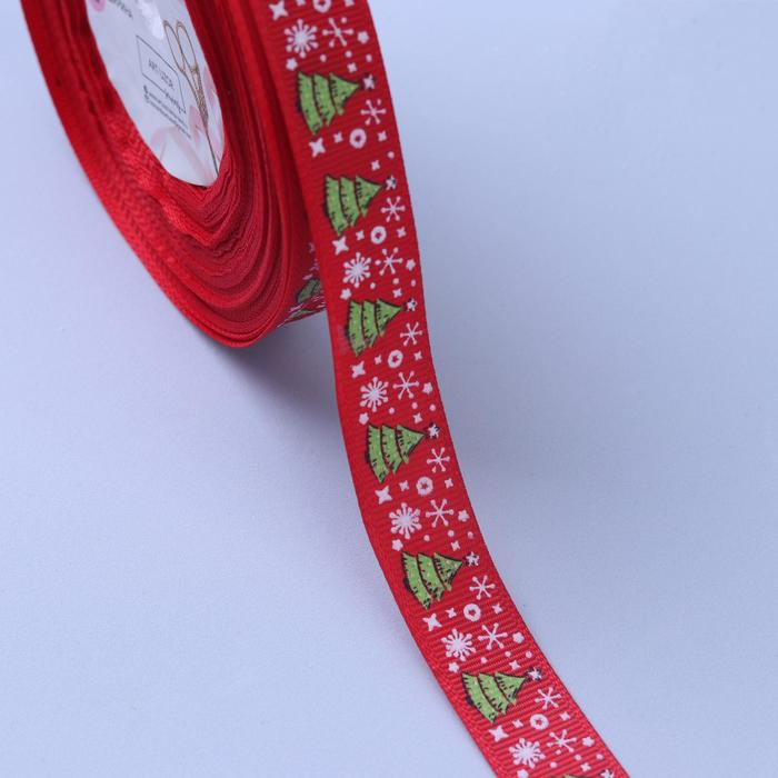Лента репсовая «Ёлки», 15мм, 22±1м, цвет красный