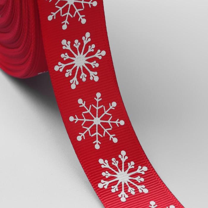 Лента репсовая «Снежинки», 25мм, 22±1м, цвет красный