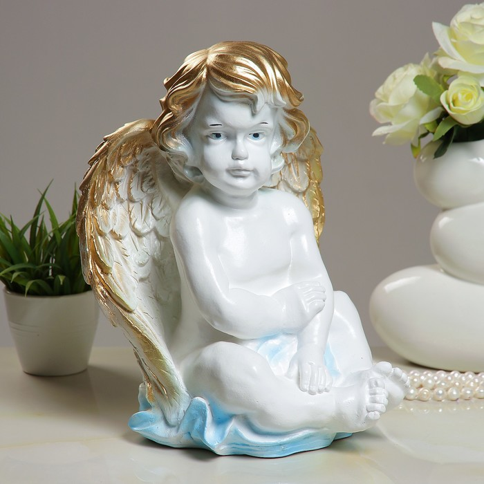"Фигура ""Ангел сидя прямо"" 23х23х34см белое золото"