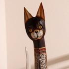 """Сувенир """"Кошка с красными вставками"""" дерево 16х7х100 см - фото 921447"""