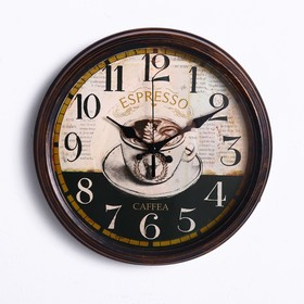 """Часы настенные, серия: Кухня, """"Espresso Caffea"""", d=35 см"""