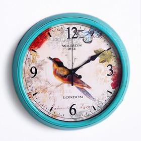 """Часы настенные, серия: Животный мир, """"Канарейка"""", голубая рама, d=35 см"""