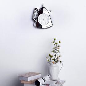"""Часы настенные, серия: Кухня, """"Кофейник"""", серебряные, 20х25 см"""