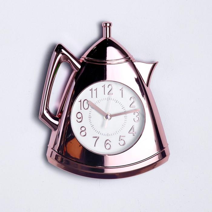 """Часы настенные, серия: Кухня, """"Кофейник"""", бронза, 20х25 см"""