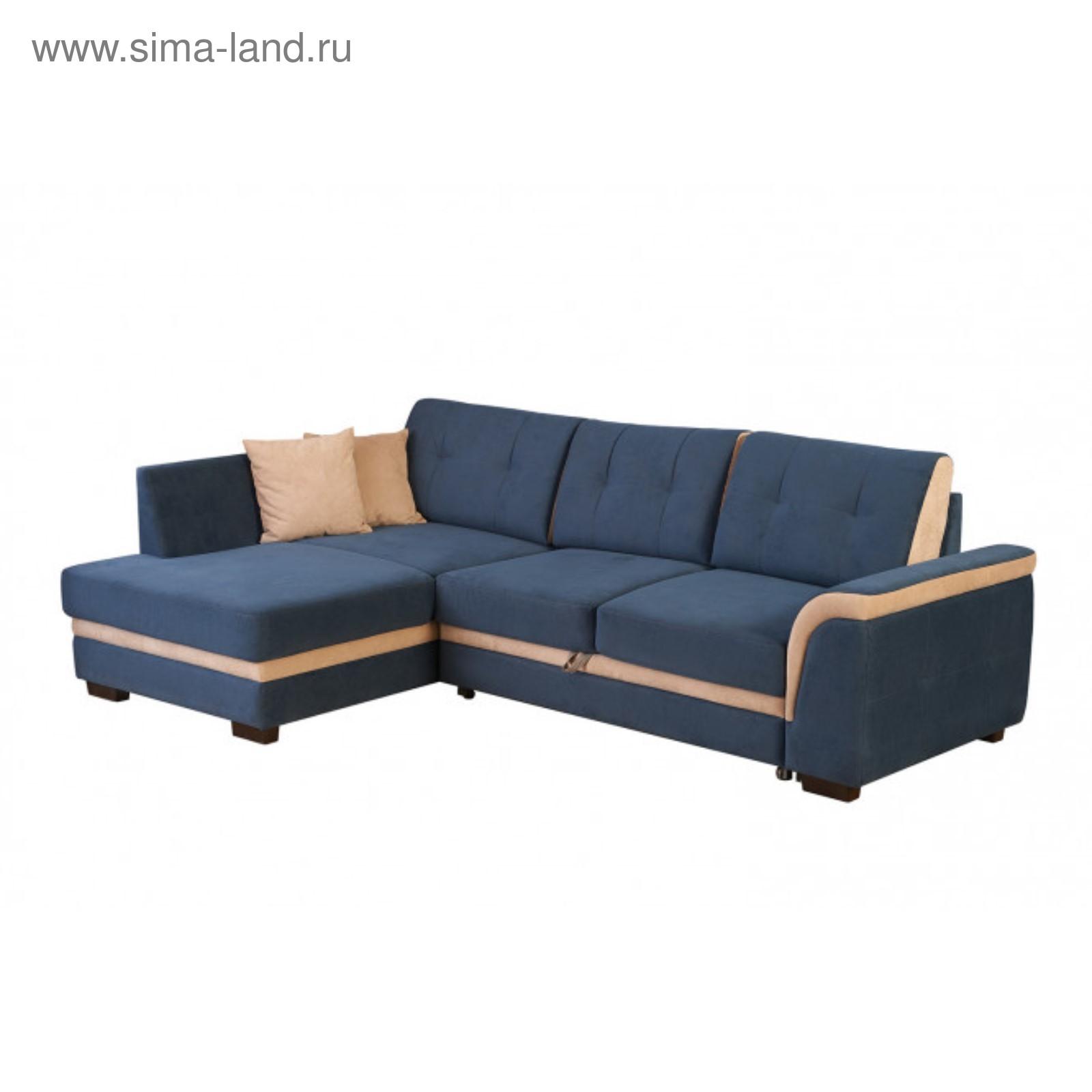 Угловой диван синего цвета с цветами