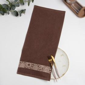 Полотенце махровое жаккардовое 30×60 см хлопок 340 г/м2 кофе
