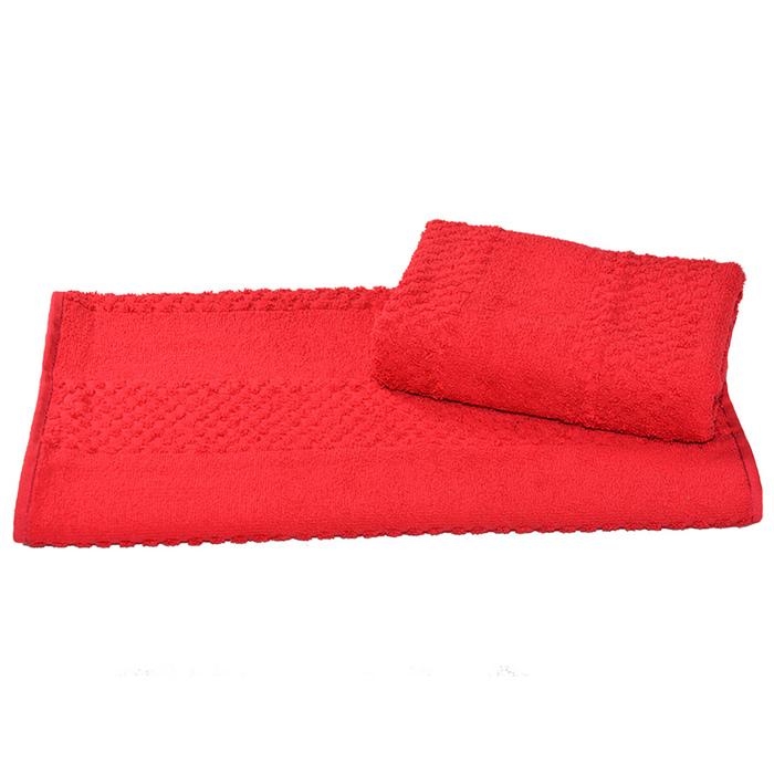 Полотенце махровое гладкокрашеное 30×60 см 360 г/м2, красный, 100% хлопок