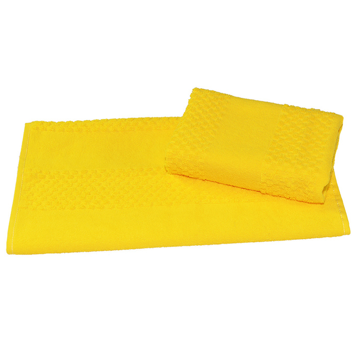 Полотенце махровое гладкокрашеное 30×60 см 360 г/м2, желтый, 100% хлопок