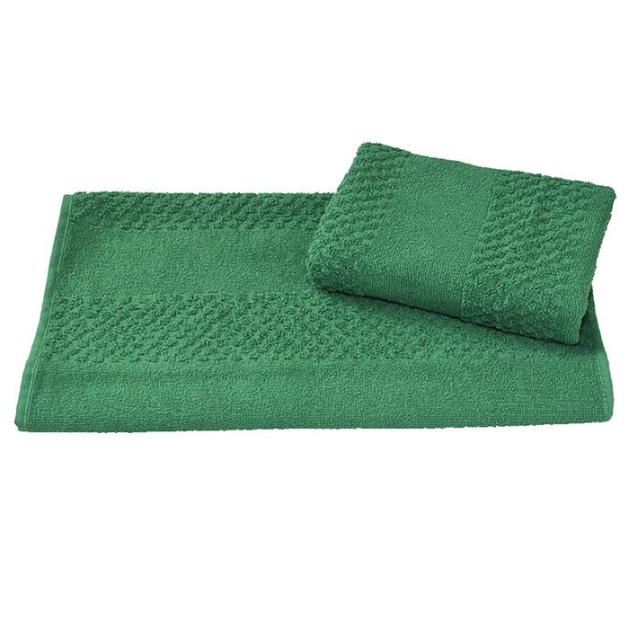 Полотенце махровое гладкокрашеное 30×60 см 360 г/м2, зеленый, 100% хлопок