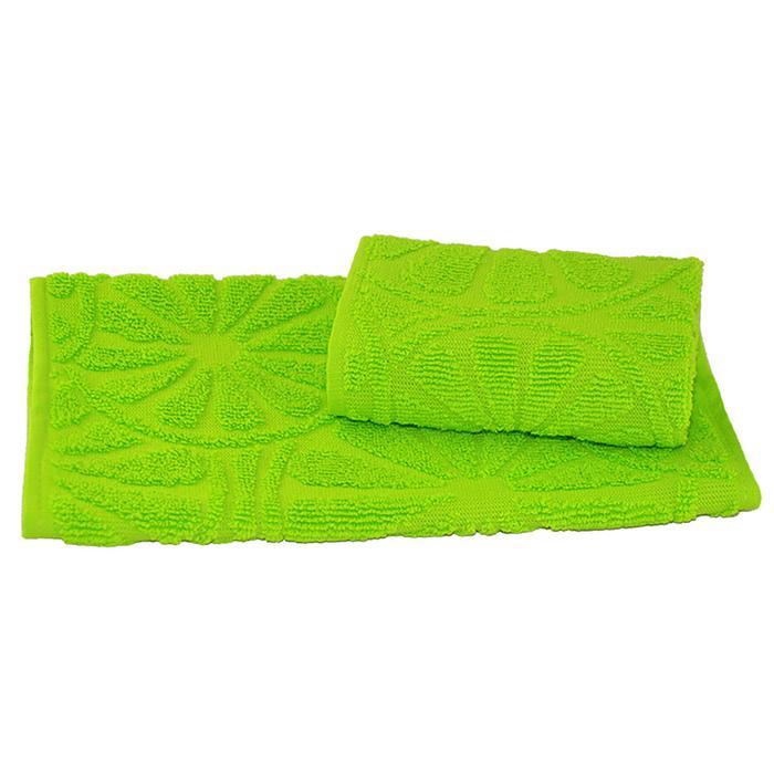 Полотенце махровое жаккардовое 30×50 см 400 г/м2, зеленый, 100% хлопок