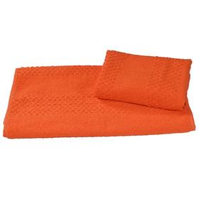 Полотенце махровое гладкокрашеное 40×70 см 360 г/м2, оранжевый, 100% хлопок