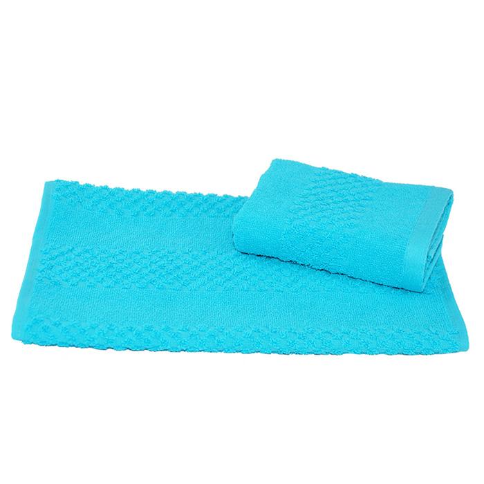 Полотенце махровое гладкокрашеное 40×70 см 360 г/м2, бирюзовый, 100% хлопок