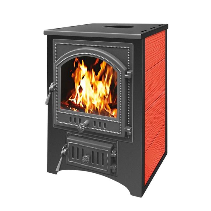 Печь-камин Везувий ПК-01 (205) со стеклом с плитой красный 12 кВт, , шт