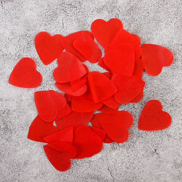 """Наполнитель для шара """"Конфетти сердца"""" 2,4 см, бумага, цвет красный, 500г"""