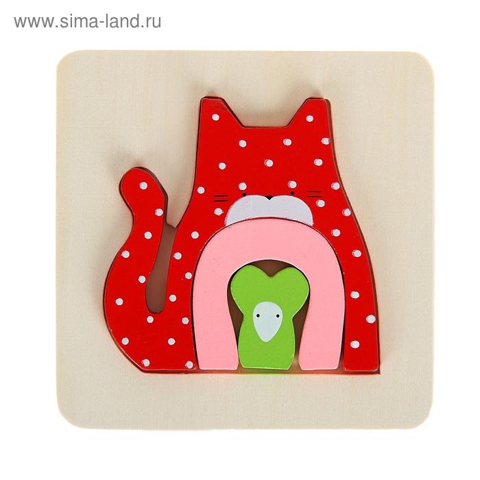 """Рамка - вкладыш малая для малышей """"Котик с мышкой"""",3 элемента"""