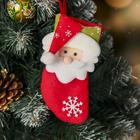 """Носок для подарка """"Снежный колпачок"""" 8,5*14 см, дед мороз"""