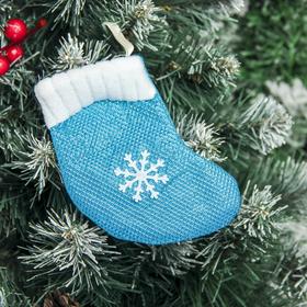 """Носок для подарка """"Снежинка"""" 9*11,5 см, голубой в Донецке"""