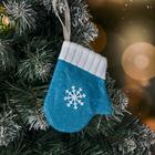 """Soft mitten """"snowflake"""" 9*11 cm, blue"""