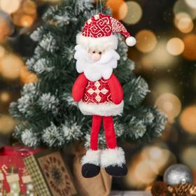 """Мягкая игрушка """"Дед мороз с узорами"""" 8*30 см красный"""