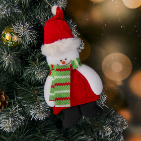 """The suspension is soft """"Snowman in a red coat"""" 9*20 cm"""
