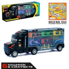 Грузовик «Перевозчик», 6 металлических машин в комплекте + игра