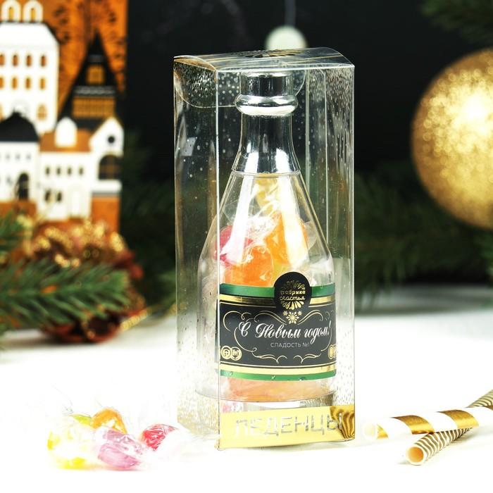 """Купеческий Курган, Леденцы в пластиковой бутылке """"С Новым годом"""", шампанское"""
