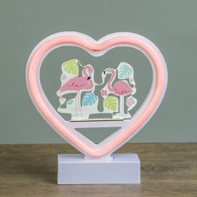 "Ночник ""Фламинго в сердце"" от 3ААА диодная лента МИКС 20х19х4,5 см"