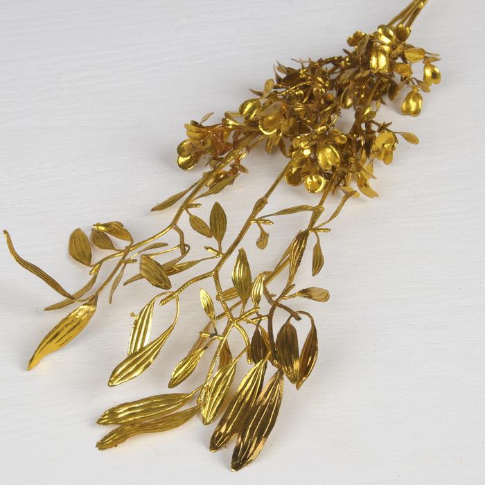 """Цветы искусственные блеск """"Цветущая ветвь"""" 30 см, золото"""